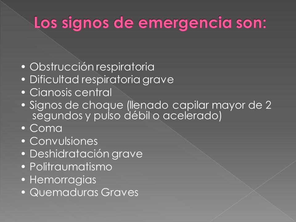 Obstrucción respiratoria Dificultad respiratoria grave Cianosis central Signos de choque (llenado capilar mayor de 2 segundos y pulso débil o acelerad