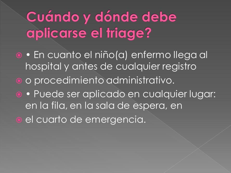 En cuanto el niño(a) enfermo llega al hospital y antes de cualquier registro o procedimiento administrativo. Puede ser aplicado en cualquier lugar: en