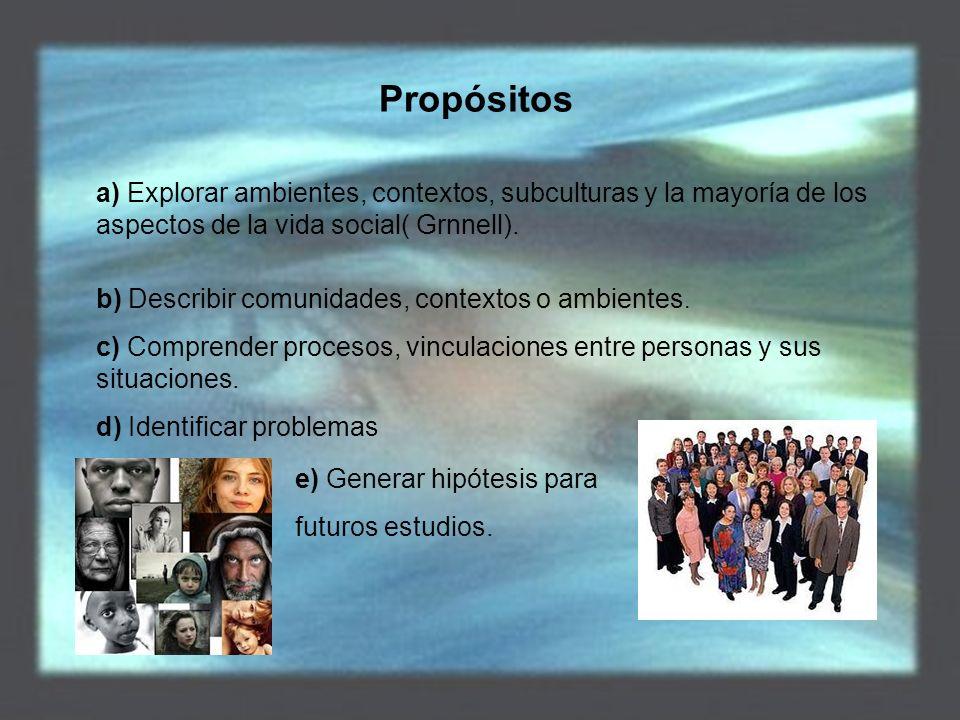 Propósitos a) Explorar ambientes, contextos, subculturas y la mayoría de los aspectos de la vida social( Grnnell).