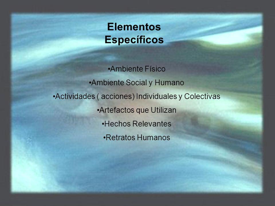 Elementos Específicos Ambiente Físico Ambiente Social y Humano Actividades ( acciones) Individuales y Colectivas Artefactos que Utilizan Hechos Relevantes Retratos Humanos