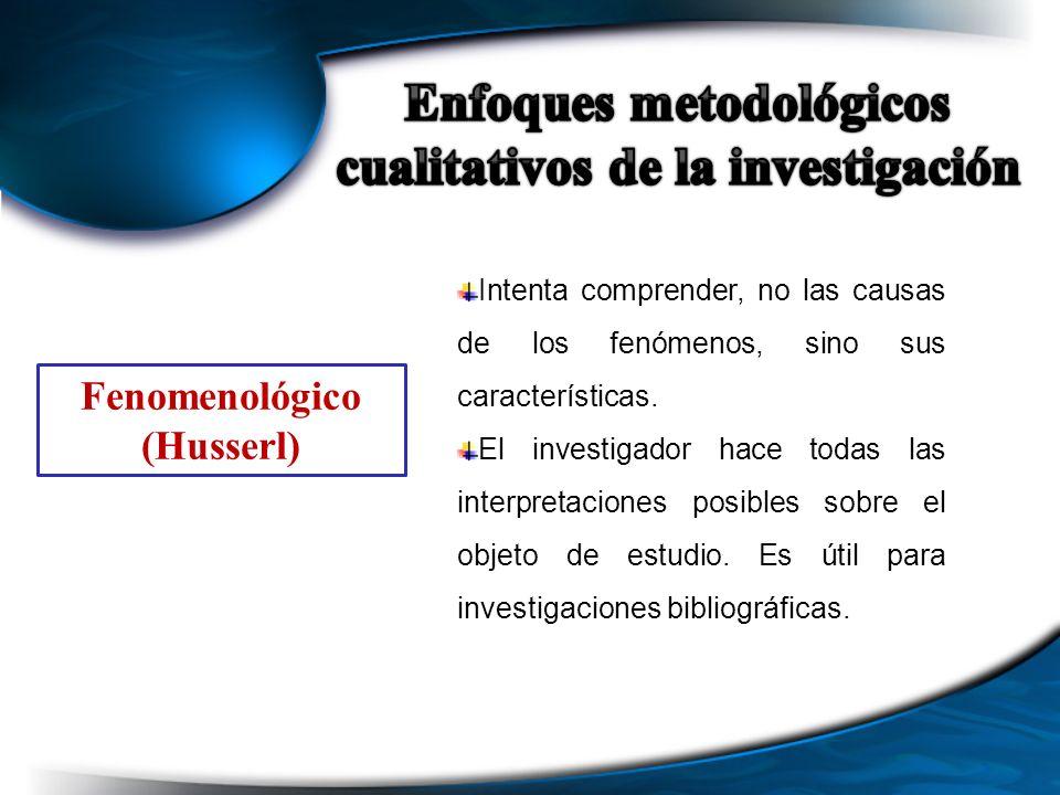 Fenomenológico (Husserl) Intenta comprender, no las causas de los fenómenos, sino sus características. El investigador hace todas las interpretaciones