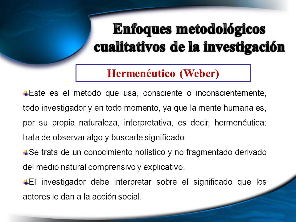 Hermenéutico (Weber) Este es el método que usa, consciente o inconscientemente, todo investigador y en todo momento, ya que la mente humana es, por su