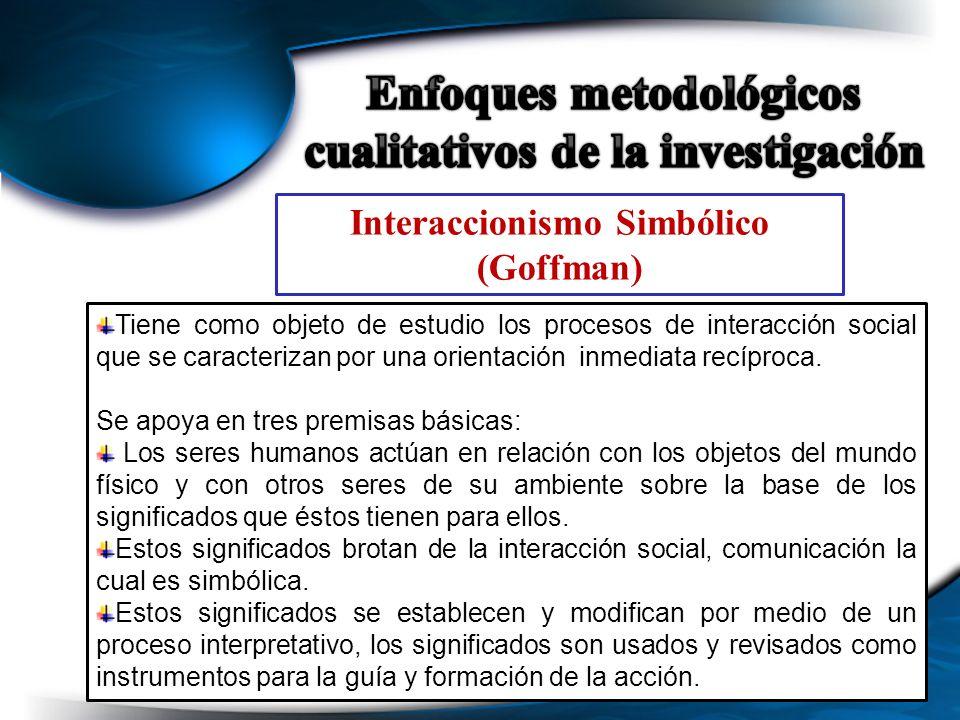 Interaccionismo Simbólico (Goffman) Tiene como objeto de estudio los procesos de interacción social que se caracterizan por una orientación inmediata
