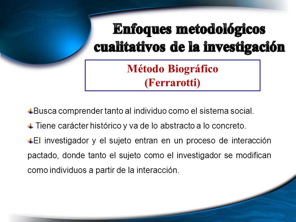 Método Biográfico (Ferrarotti) Busca comprender tanto al individuo como el sistema social. Tiene carácter histórico y va de lo abstracto a lo concreto