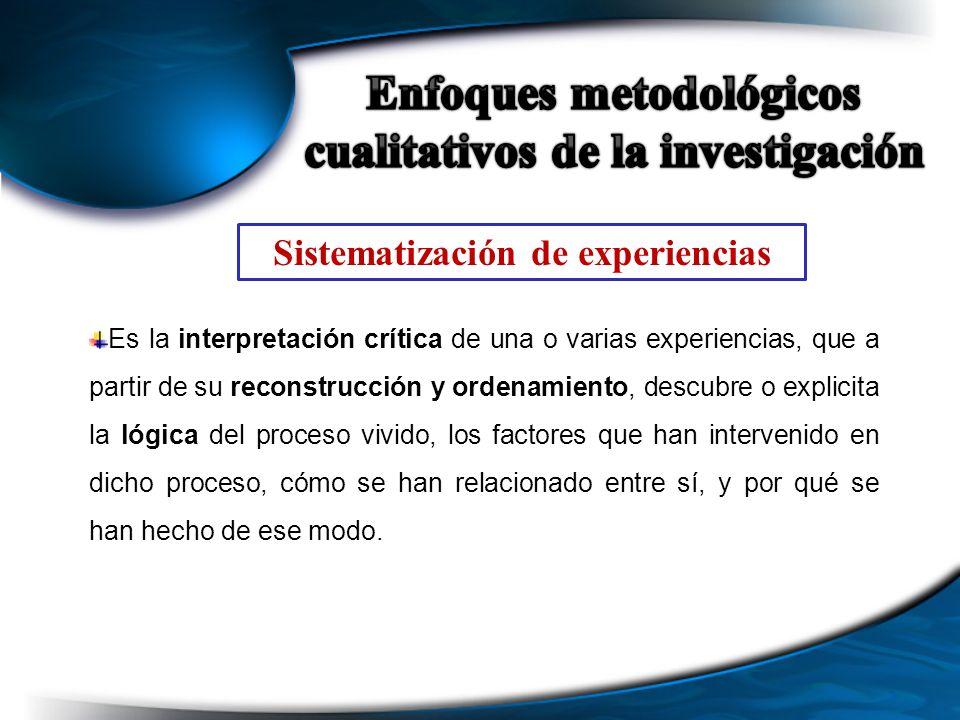 Sistematización de experiencias Es la interpretación crítica de una o varias experiencias, que a partir de su reconstrucción y ordenamiento, descubre