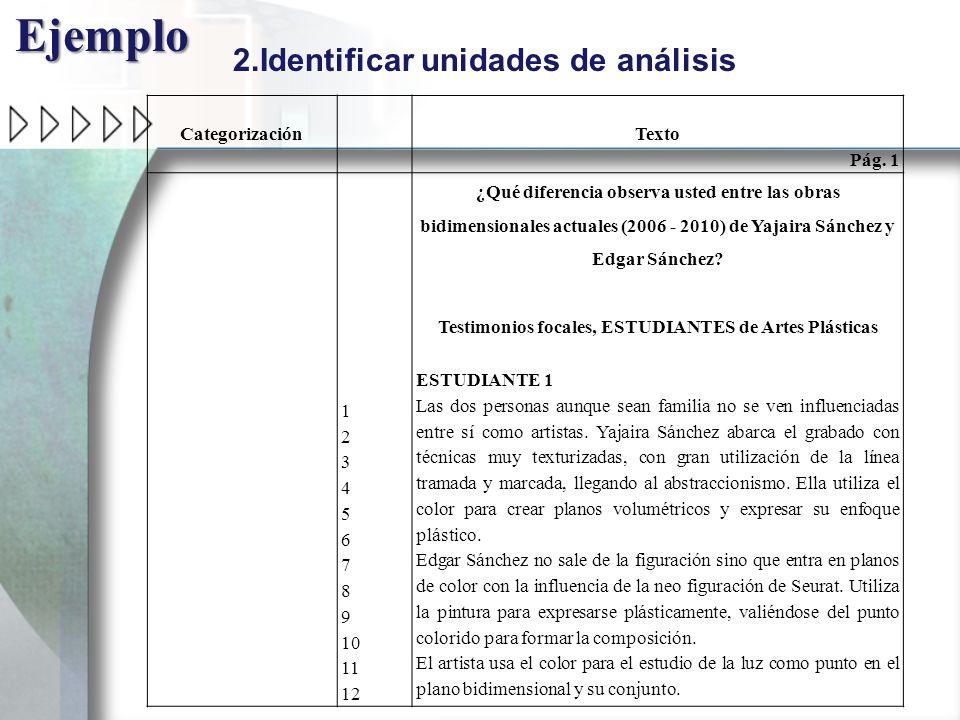 Categorización Texto Pág. 1 1 2 3 4 5 6 7 8 9 10 11 12 ¿Qué diferencia observa usted entre las obras bidimensionales actuales (2006 - 2010) de Yajaira
