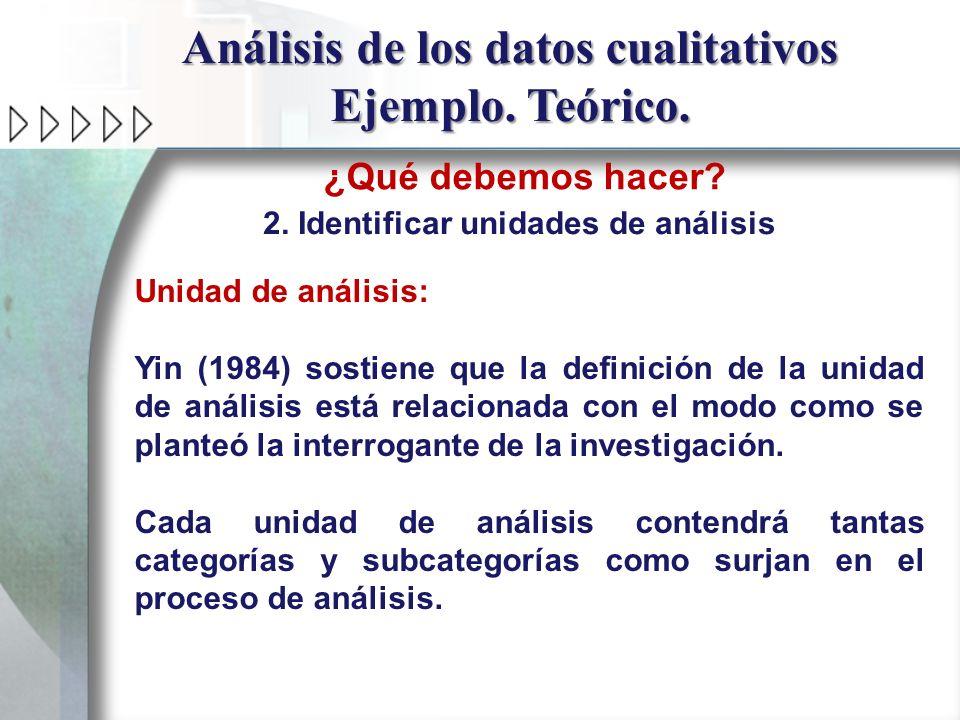 Análisis de los datos cualitativos Ejemplo. Teórico. ¿Qué debemos hacer? 2. Identificar unidades de análisis Unidad de análisis: Yin (1984) sostiene q