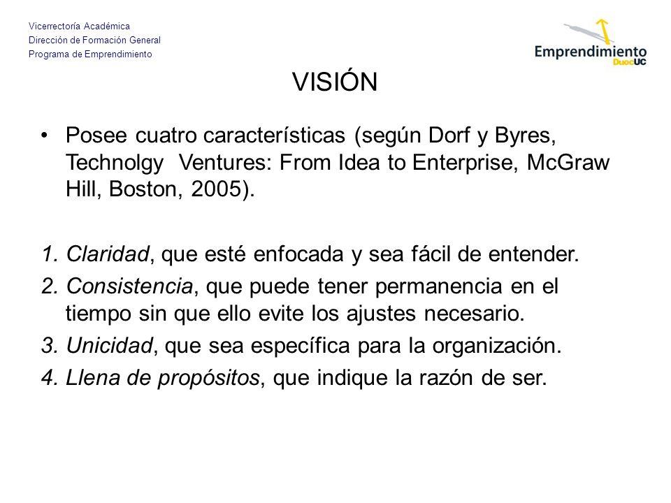 Vicerrectoría Académica Dirección de Formación General Programa de Emprendimiento EJEMPLOS DE VISIÓN INFOR: Crear valor forestal para Chile.