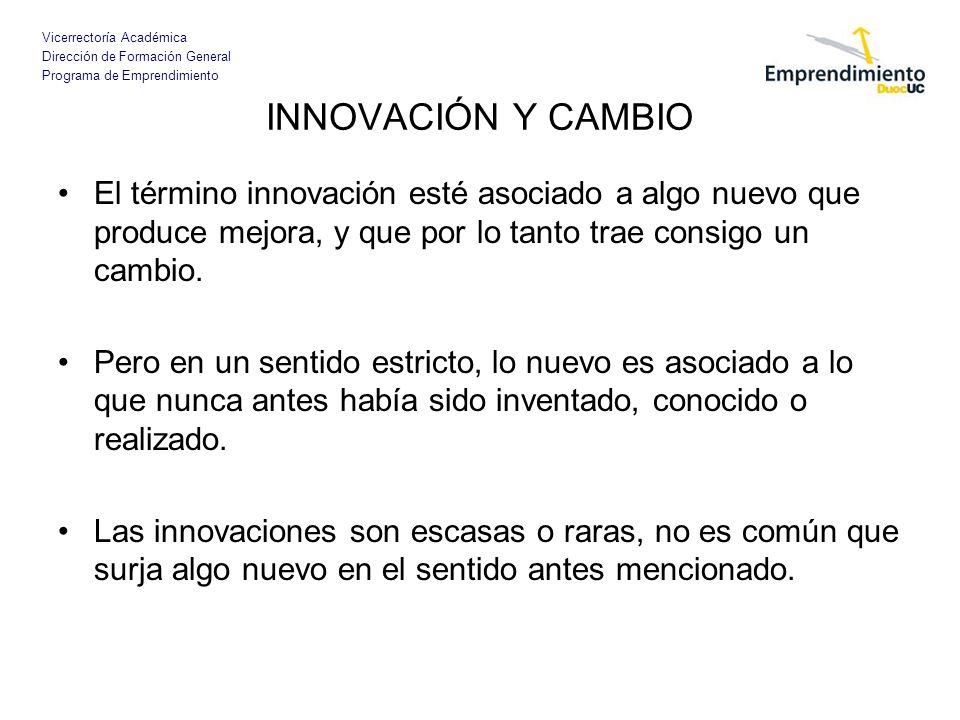 Vicerrectoría Académica Dirección de Formación General Programa de Emprendimiento INNOVACIÓN Y CAMBIO El término innovación esté asociado a algo nuevo