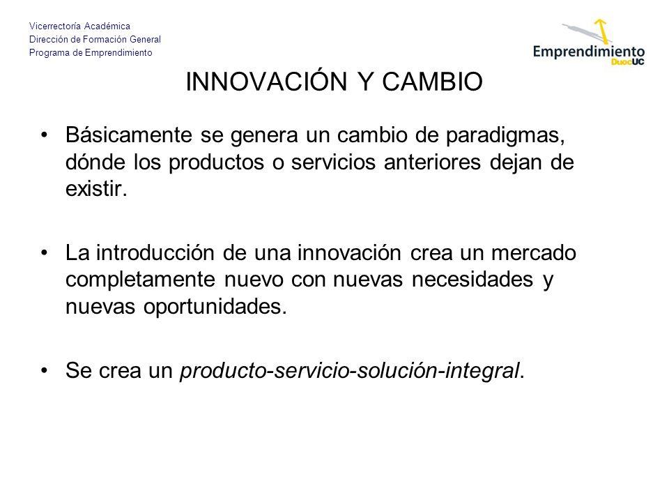Vicerrectoría Académica Dirección de Formación General Programa de Emprendimiento INNOVACIÓN Y CAMBIO Básicamente se genera un cambio de paradigmas, d