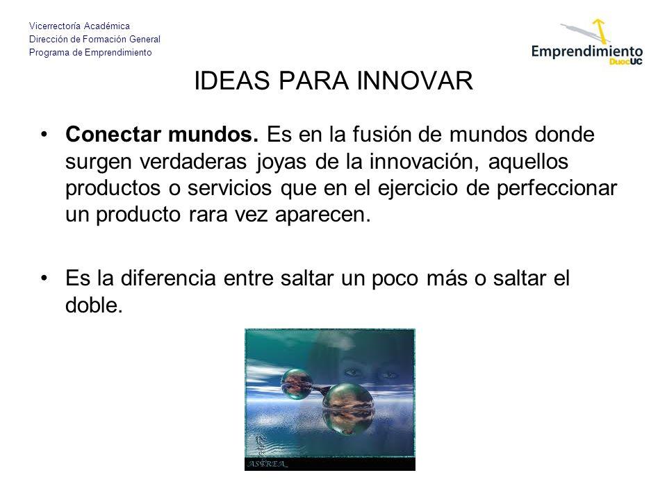 Vicerrectoría Académica Dirección de Formación General Programa de Emprendimiento IDEAS PARA INNOVAR Conectar mundos. Es en la fusión de mundos donde
