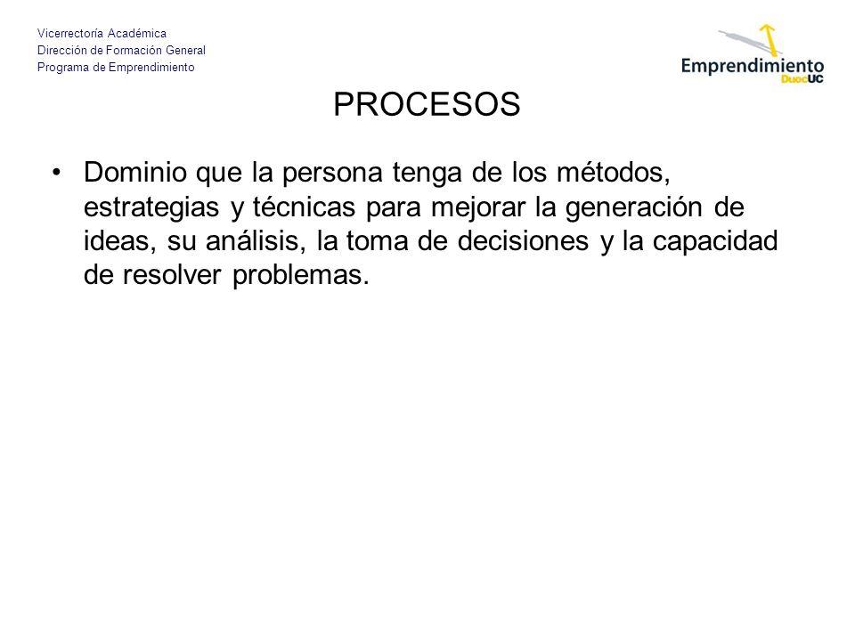 Vicerrectoría Académica Dirección de Formación General Programa de Emprendimiento PROCESOS Dominio que la persona tenga de los métodos, estrategias y