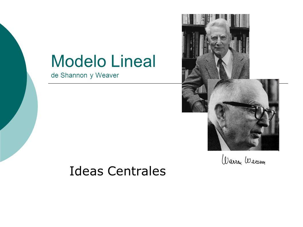 Modelo Lineal de Shannon y Weaver Ideas Centrales