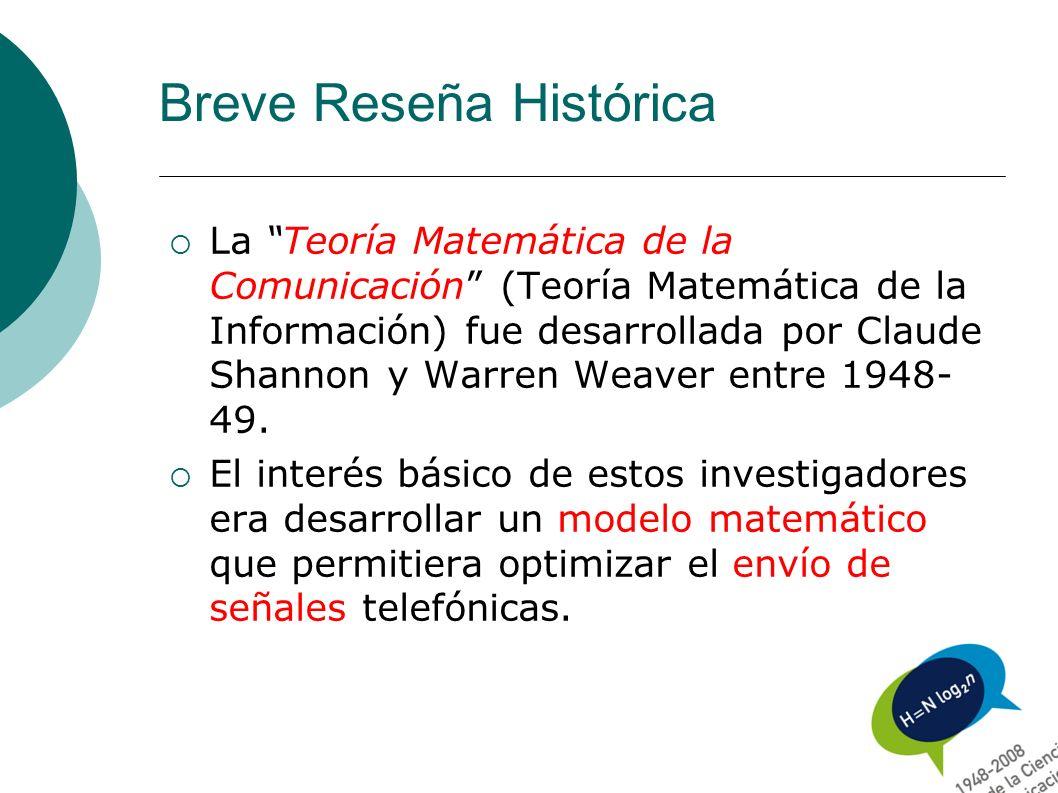 Breve Reseña Histórica La Teoría Matemática de la Comunicación (Teoría Matemática de la Información) fue desarrollada por Claude Shannon y Warren Weav