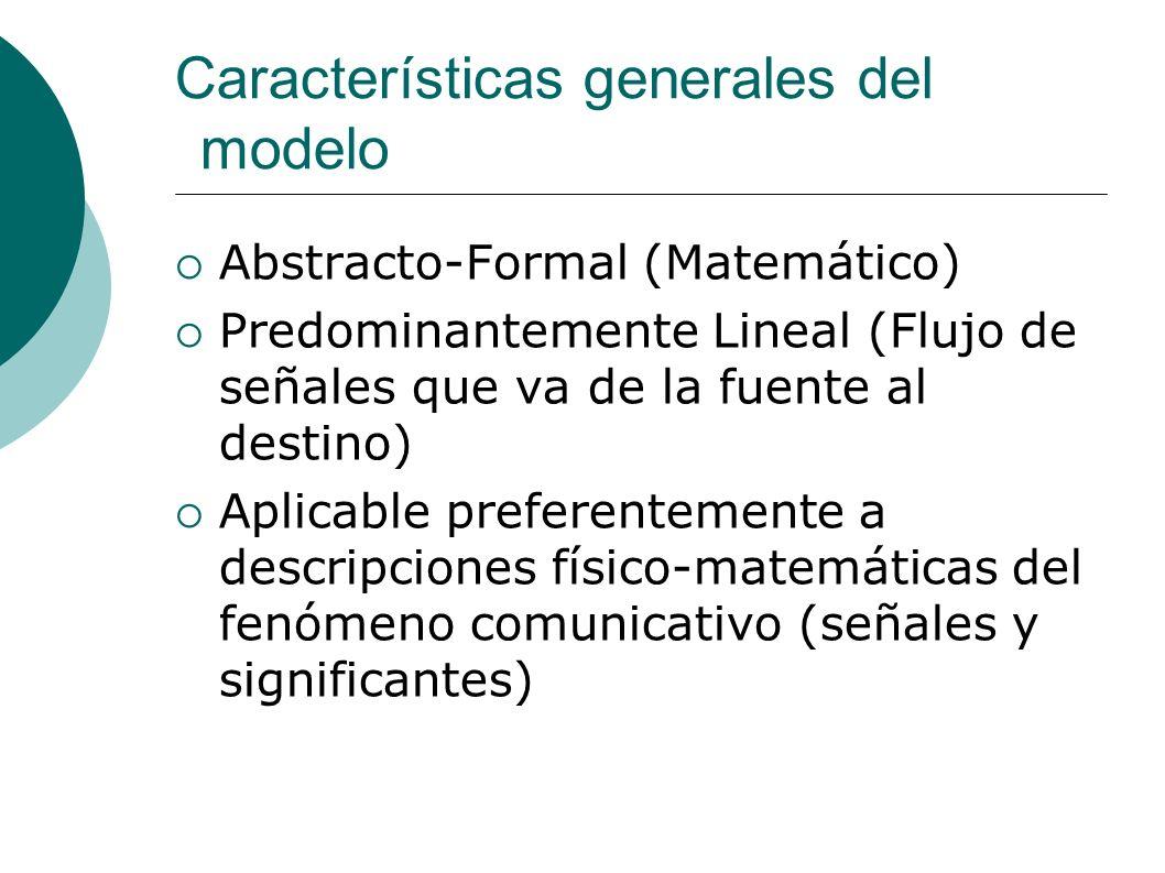 Características generales del modelo Abstracto-Formal (Matemático) Predominantemente Lineal (Flujo de señales que va de la fuente al destino) Aplicabl