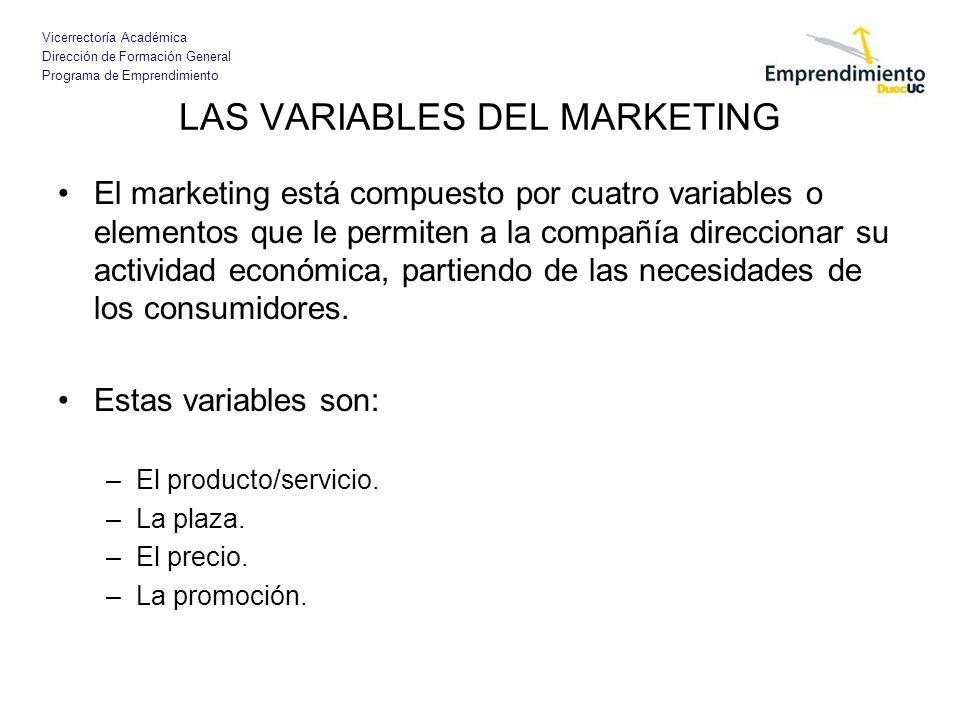 Vicerrectoría Académica Dirección de Formación General Programa de Emprendimiento LAS VARIABLES DEL MARKETING Las 4 pes del marketing también se denominan: –Marketing mix.