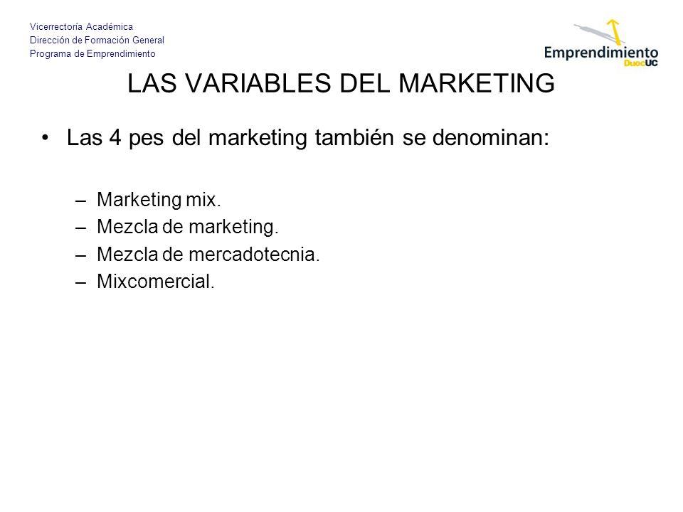 Vicerrectoría Académica Dirección de Formación General Programa de Emprendimiento LAS VARIABLES DEL MARKETING Las 4 pes del marketing también se denom