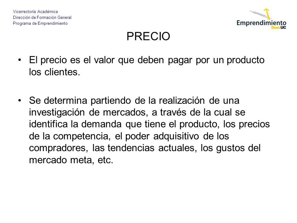 Vicerrectoría Académica Dirección de Formación General Programa de Emprendimiento PRECIO Indicadores que son factores influyentes al momento de definir el precio de un producto.