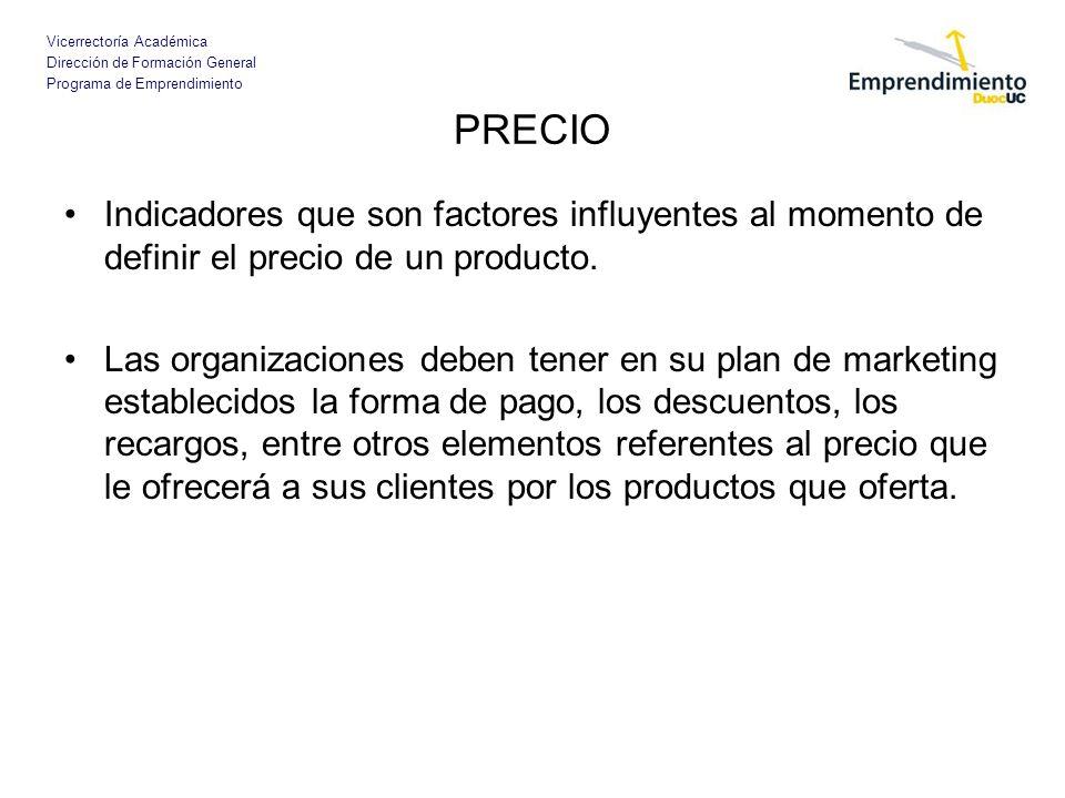 Vicerrectoría Académica Dirección de Formación General Programa de Emprendimiento PRECIO Indicadores que son factores influyentes al momento de defini