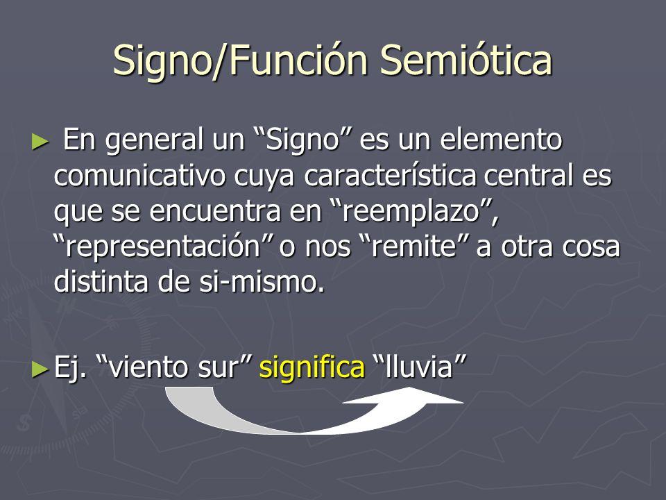 Signo/Función Semiótica En general un Signo es un elemento comunicativo cuya característica central es que se encuentra en reemplazo, representación o