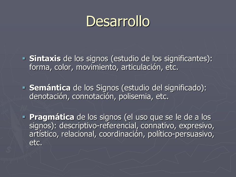 Desarrollo Sintaxis de los signos (estudio de los significantes): forma, color, movimiento, articulación, etc. Sintaxis de los signos (estudio de los