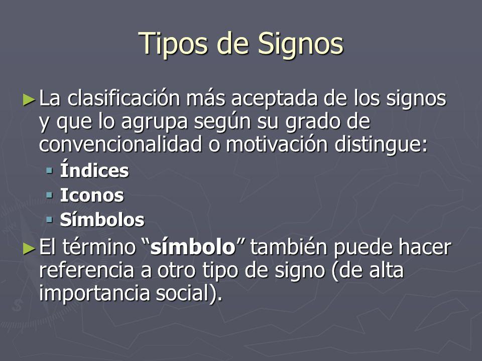 Tipos de Signos La clasificación más aceptada de los signos y que lo agrupa según su grado de convencionalidad o motivación distingue: La clasificació