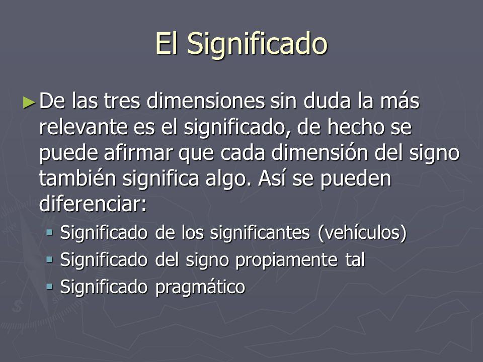 El Significado De las tres dimensiones sin duda la más relevante es el significado, de hecho se puede afirmar que cada dimensión del signo también sig