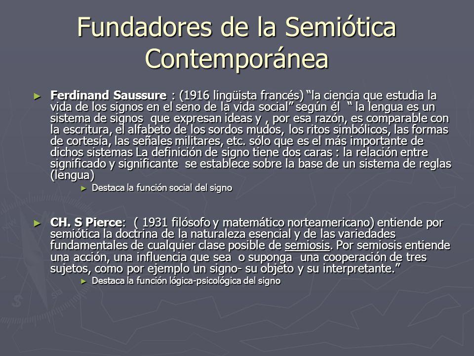 Fundadores de la Semiótica Contemporánea Ferdinand Saussure : (1916 lingüista francés) la ciencia que estudia la vida de los signos en el seno de la v