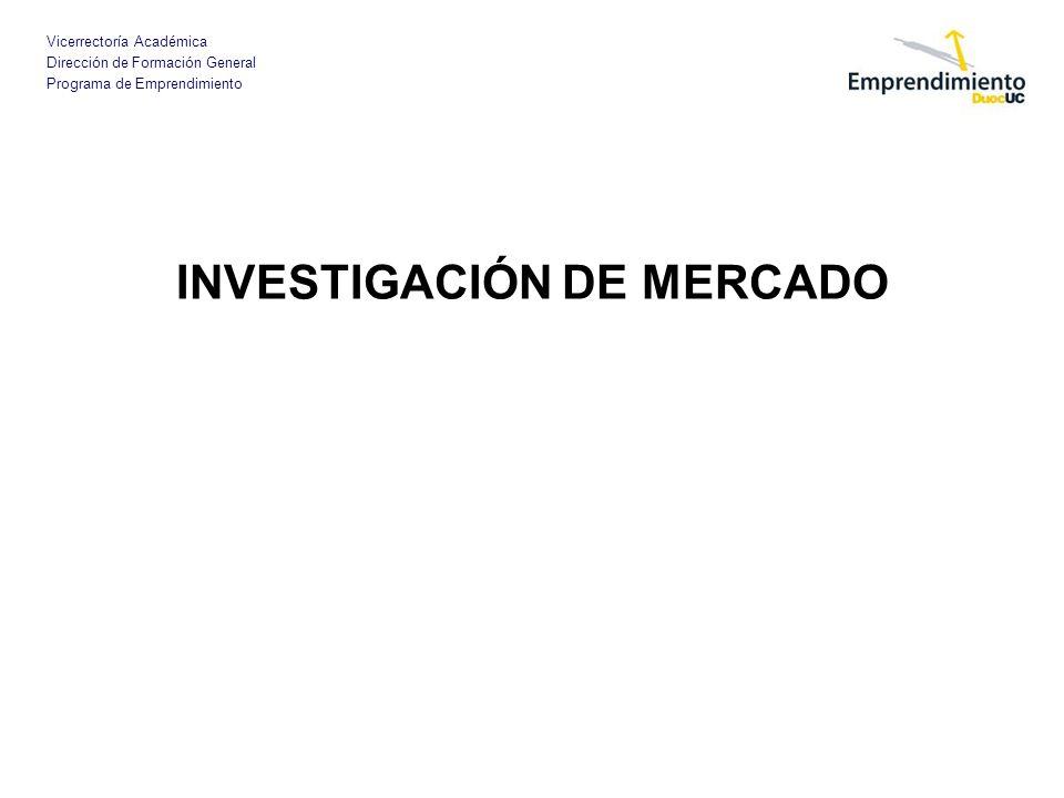 Vicerrectoría Académica Dirección de Formación General Programa de Emprendimiento IMPORTANCIA DE LA INVESTIGACIÓN DE MERCADO Es el proceso objetivo y sistemático en el que se genera la información para ayudar en la toma de decisiones de mercado.