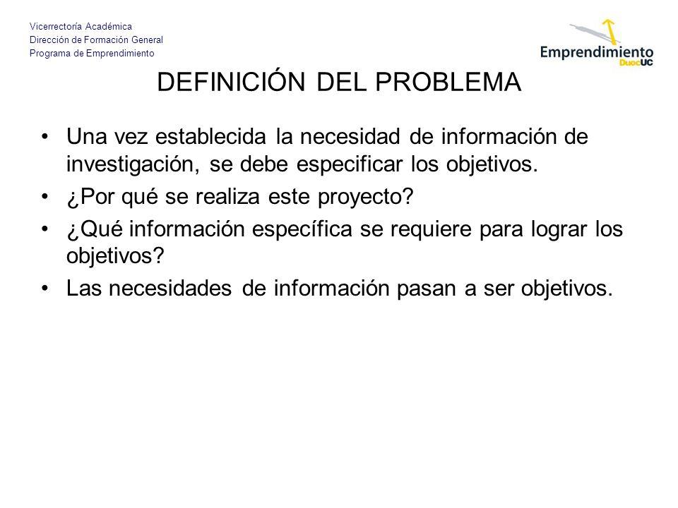 Vicerrectoría Académica Dirección de Formación General Programa de Emprendimiento DEFINICIÓN DEL PROBLEMA Una vez establecida la necesidad de informac