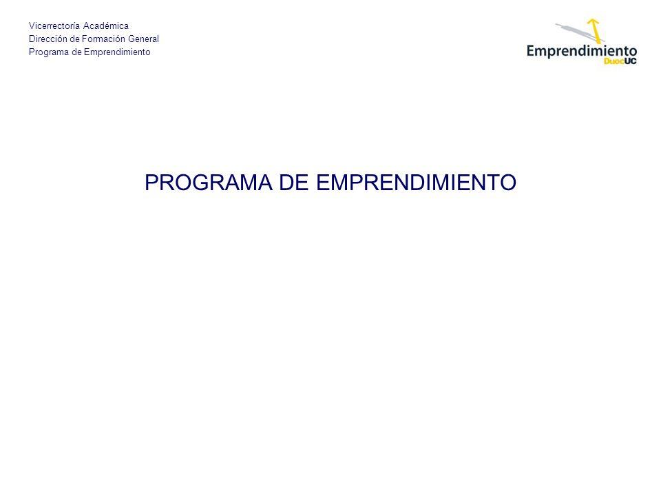 Vicerrectoría Académica Dirección de Formación General Programa de Emprendimiento PROGRAMA DE EMPRENDIMIENTO