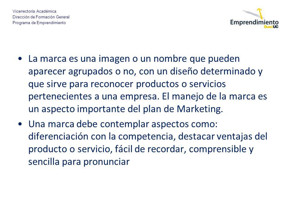 Vicerrectoría Académica Dirección de Formación General Programa de Emprendimiento La marca es una imagen o un nombre que pueden aparecer agrupados o n