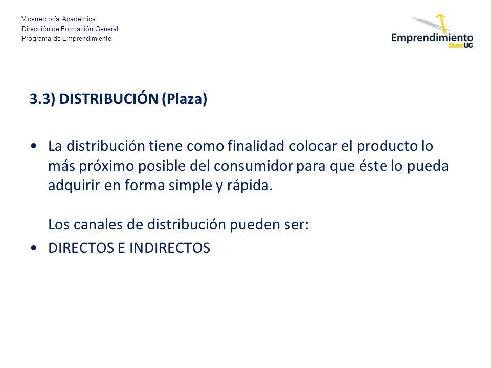 Vicerrectoría Académica Dirección de Formación General Programa de Emprendimiento 3.3) DISTRIBUCIÓN (Plaza) La distribución tiene como finalidad coloc