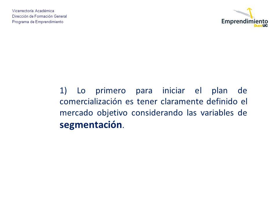 Vicerrectoría Académica Dirección de Formación General Programa de Emprendimiento 1) Lo primero para iniciar el plan de comercialización es tener clar