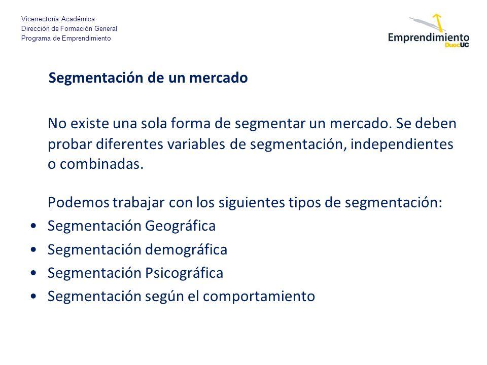 Vicerrectoría Académica Dirección de Formación General Programa de Emprendimiento Segmentación de un mercado No existe una sola forma de segmentar un