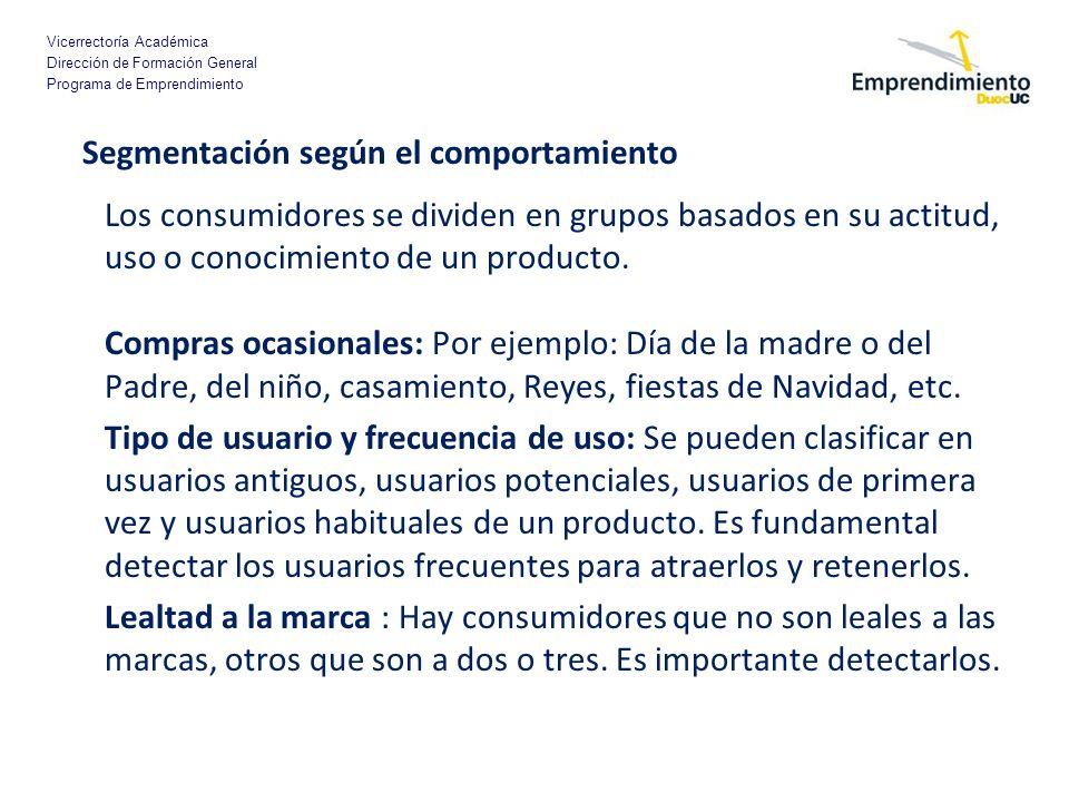 Vicerrectoría Académica Dirección de Formación General Programa de Emprendimiento Segmentación según el comportamiento Los consumidores se dividen en