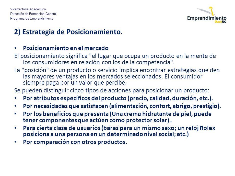 Vicerrectoría Académica Dirección de Formación General Programa de Emprendimiento 2) Estrategia de Posicionamiento. Posicionamiento en el mercado El p