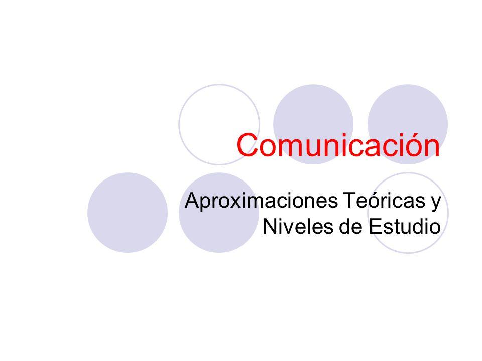 Comunicación Aproximaciones Teóricas y Niveles de Estudio