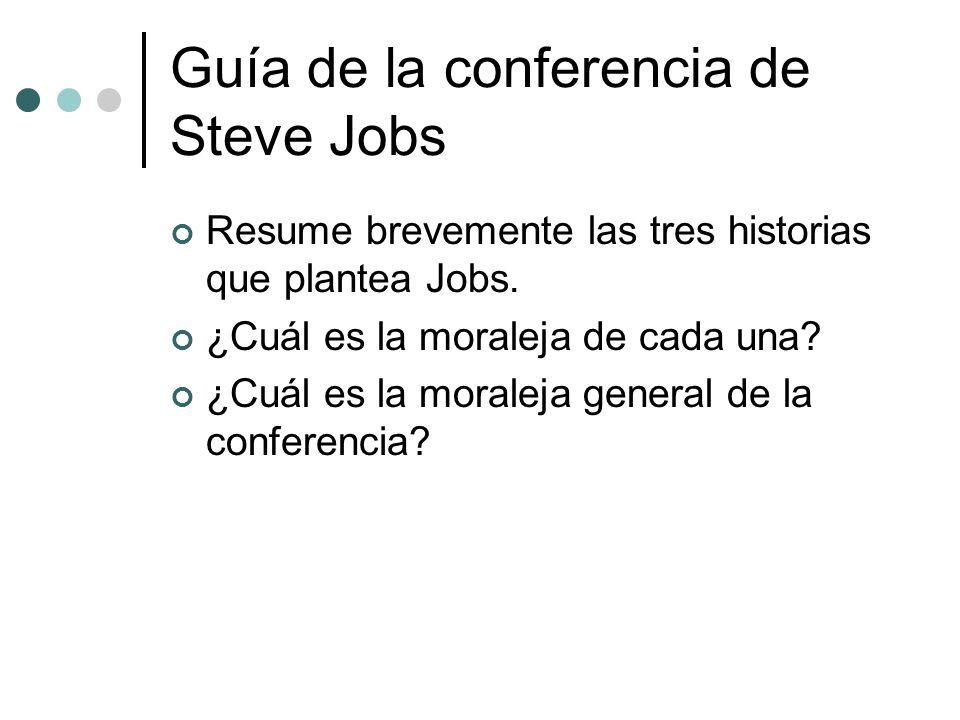 Guía de la conferencia de Steve Jobs Resume brevemente las tres historias que plantea Jobs.