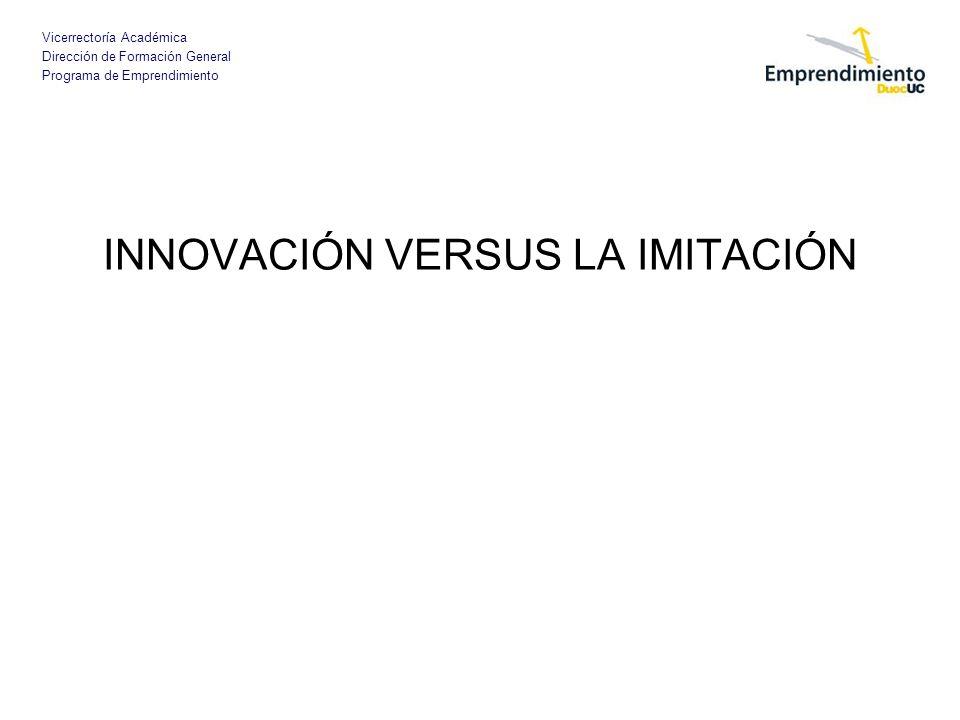 Vicerrectoría Académica Dirección de Formación General Programa de Emprendimiento INNOVACIÓN VERSUS LA IMITACIÓN