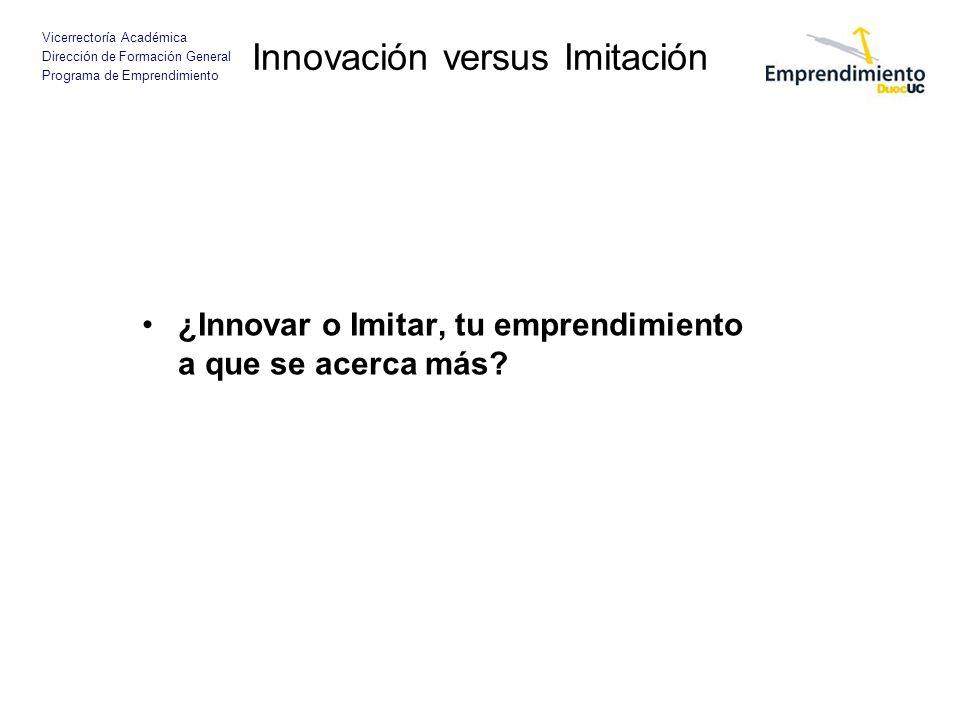 Vicerrectoría Académica Dirección de Formación General Programa de Emprendimiento Innovación versus Imitación ¿Innovar o Imitar, tu emprendimiento a que se acerca más
