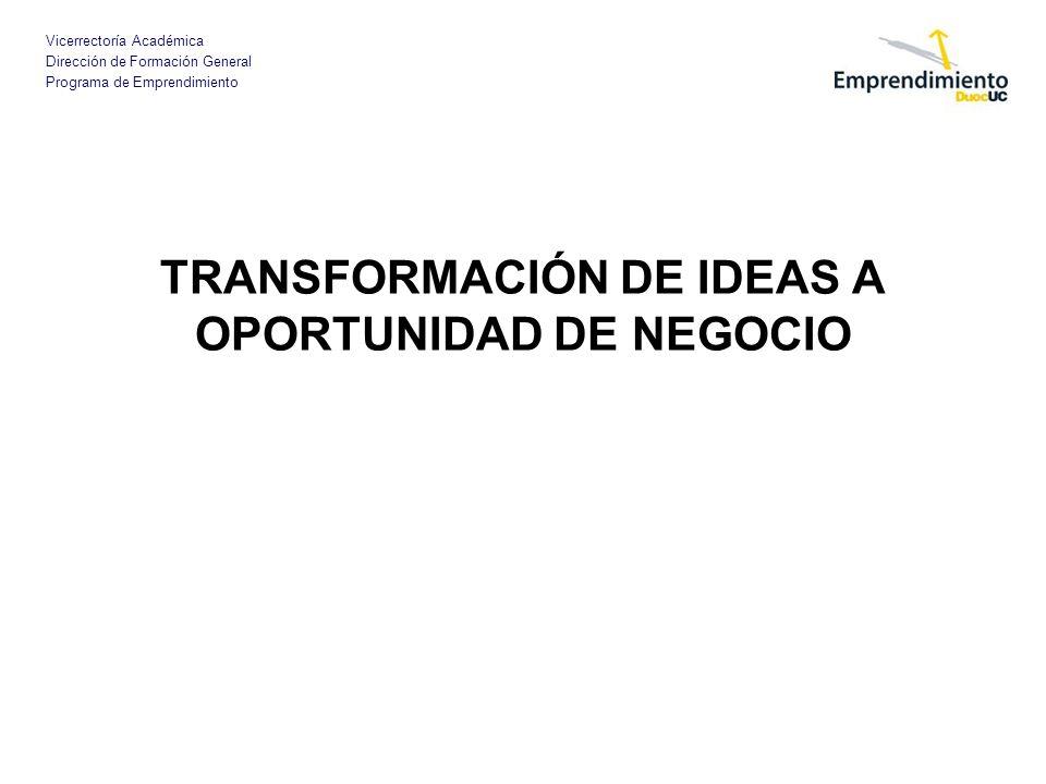 Vicerrectoría Académica Dirección de Formación General Programa de Emprendimiento TRANSFORMACIÓN DE IDEAS A OPORTUNIDAD DE NEGOCIO