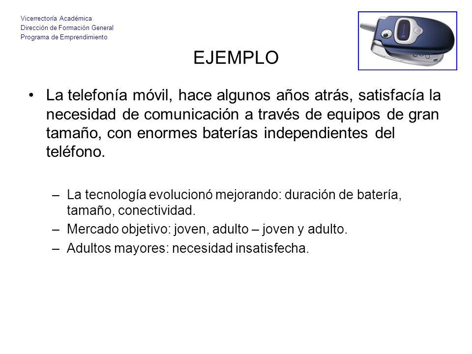 Vicerrectoría Académica Dirección de Formación General Programa de Emprendimiento EJEMPLO La telefonía móvil, hace algunos años atrás, satisfacía la n