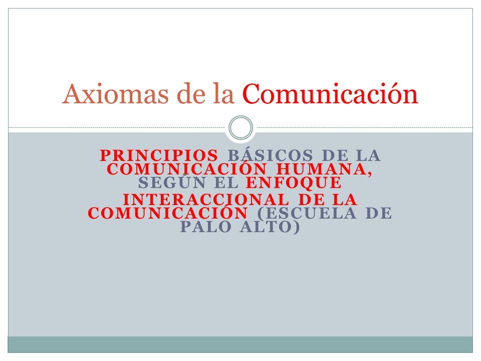 PRINCIPIOS BÁSICOS DE LA COMUNICACIÓN HUMANA, SEGÚN EL ENFOQUE INTERACCIONAL DE LA COMUNICACIÓN (ESCUELA DE PALO ALTO) Axiomas de la Comunicación