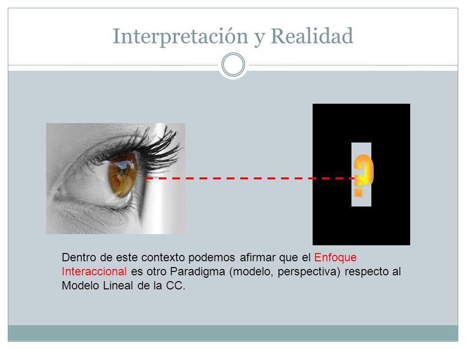 Interpretación y Realidad Dentro de este contexto podemos afirmar que el Enfoque Interaccional es otro Paradigma (modelo, perspectiva) respecto al Modelo Lineal de la CC.