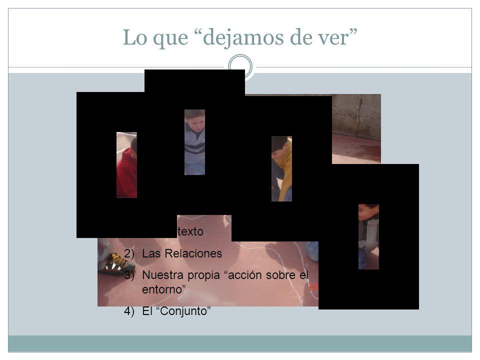Lo que dejamos de ver 1)El Contexto 2)Las Relaciones 3)Nuestra propia acción sobre el entorno 4)El Conjunto