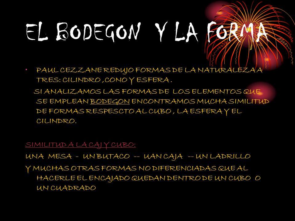 EL BODEGON Y LA FORMA PAUL CEZZANE REDUJO FORMAS DE LA NATURALEZA A TRES: CILINDRO,CONO Y ESFERA. SI ANALIZAMOS LAS FORMAS DE LOS ELEMENTOS QUE SE EMP