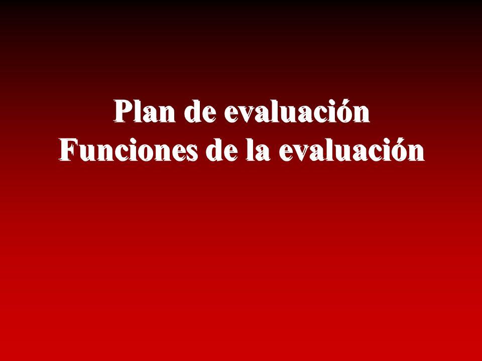 Plan de evaluación Funciones de la evaluación