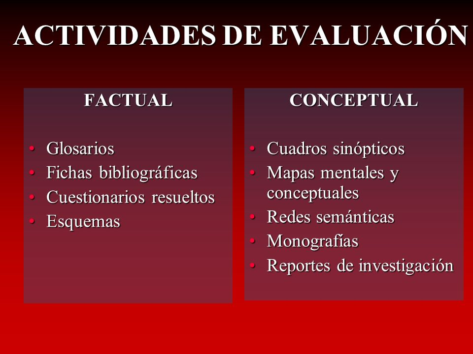 FACTUAL GlosariosGlosarios Fichas bibliográficasFichas bibliográficas Cuestionarios resueltosCuestionarios resueltos EsquemasEsquemas CONCEPTUAL Cuadr