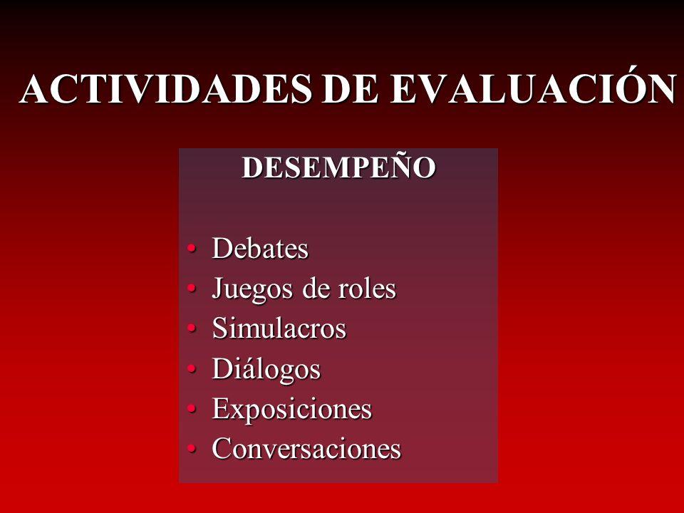 DESEMPEÑO DebatesDebates Juegos de rolesJuegos de roles SimulacrosSimulacros DiálogosDiálogos ExposicionesExposiciones ConversacionesConversaciones AC